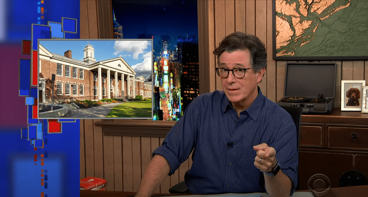 Stephen Colbert on the set of The Late Show